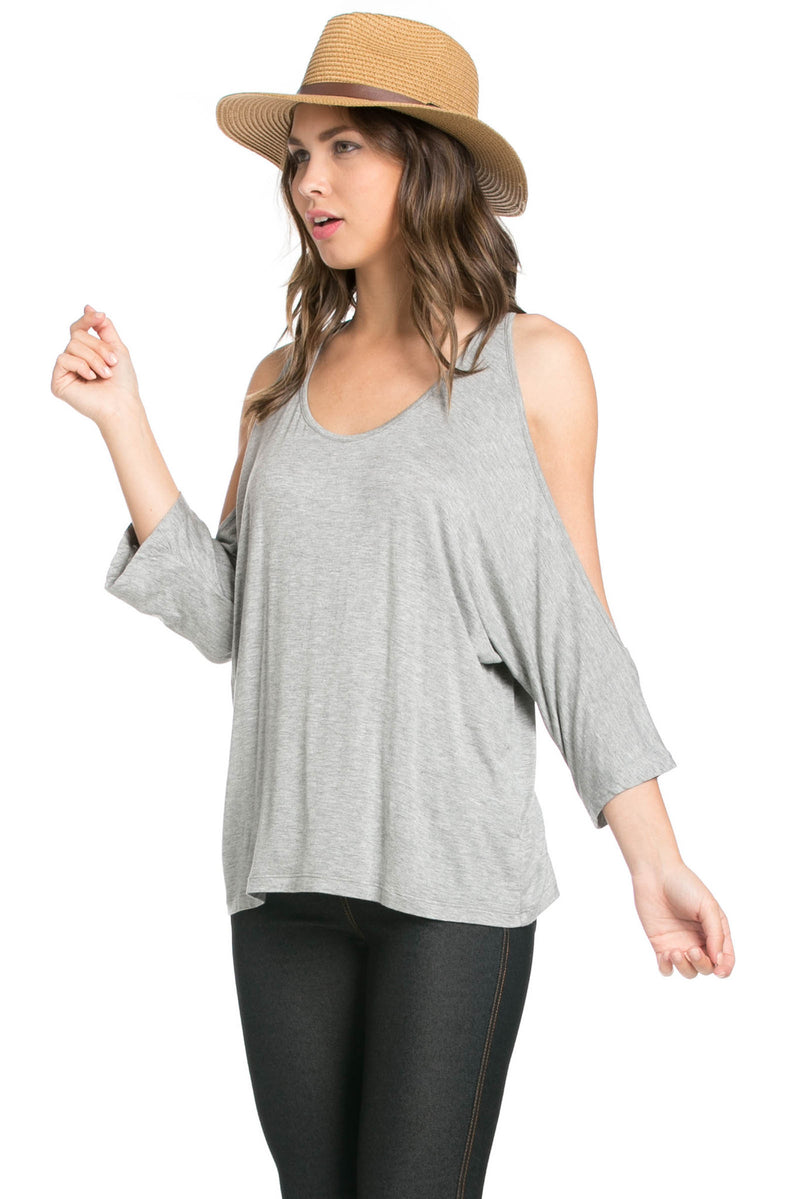 Classic Cold Shoulder Top Heather Grey - Tops - My Yuccie - 2