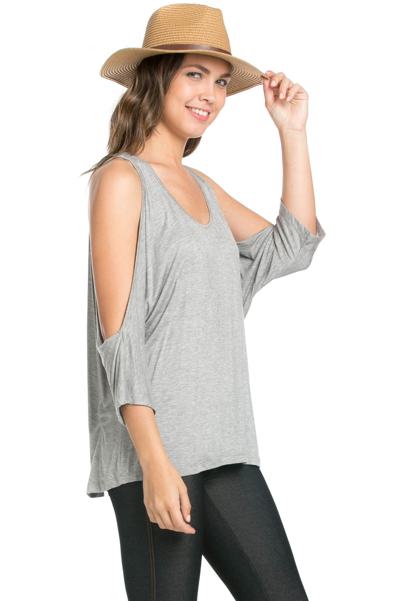 Classic Cold Shoulder Top Heather Grey - Tops - My Yuccie - 4