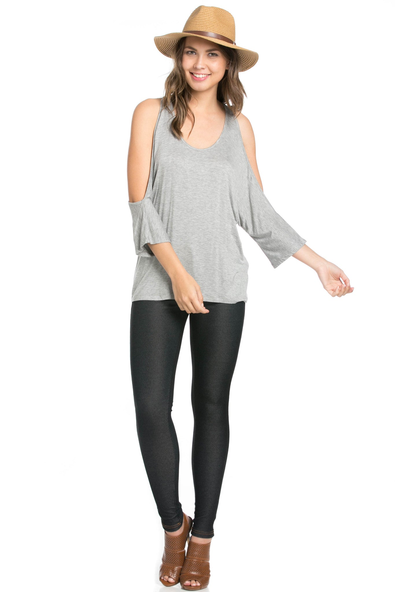 Classic Cold Shoulder Top Heather Grey - Tops - My Yuccie - 6