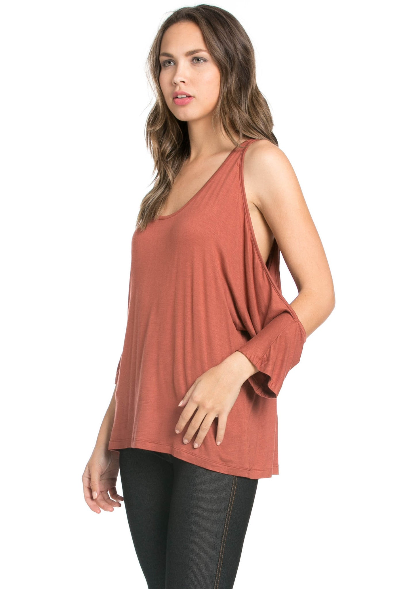 Classic Cold Shoulder Top Rust - Tops - My Yuccie - 2