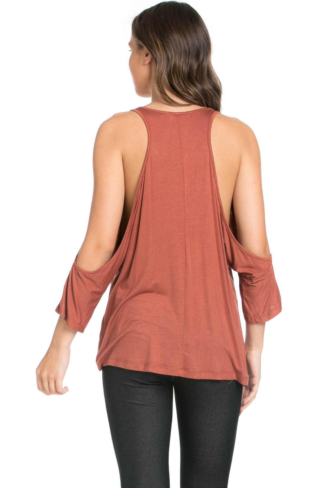 Classic Cold Shoulder Top Rust - Tops - My Yuccie - 3