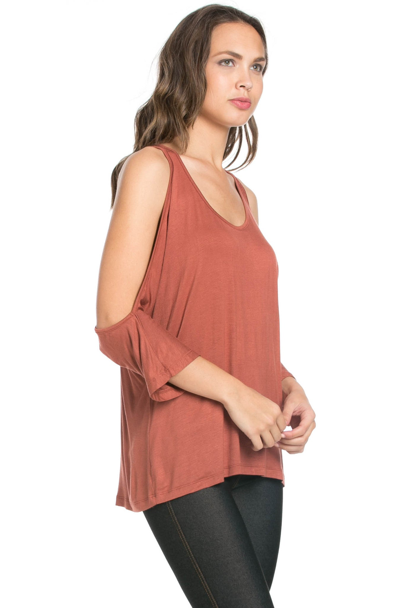Classic Cold Shoulder Top Rust - Tops - My Yuccie - 4