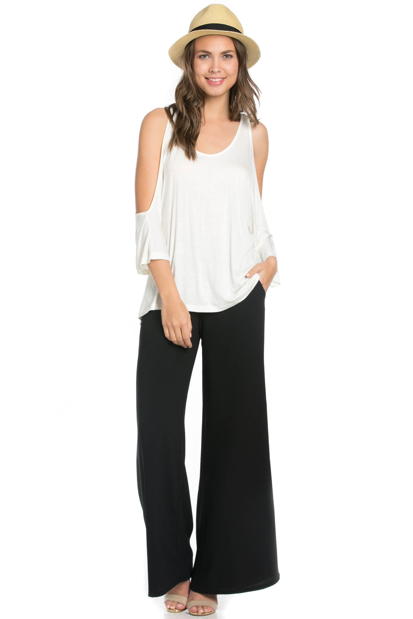 Classic Cold Shoulder Top White - Tops - My Yuccie - 4