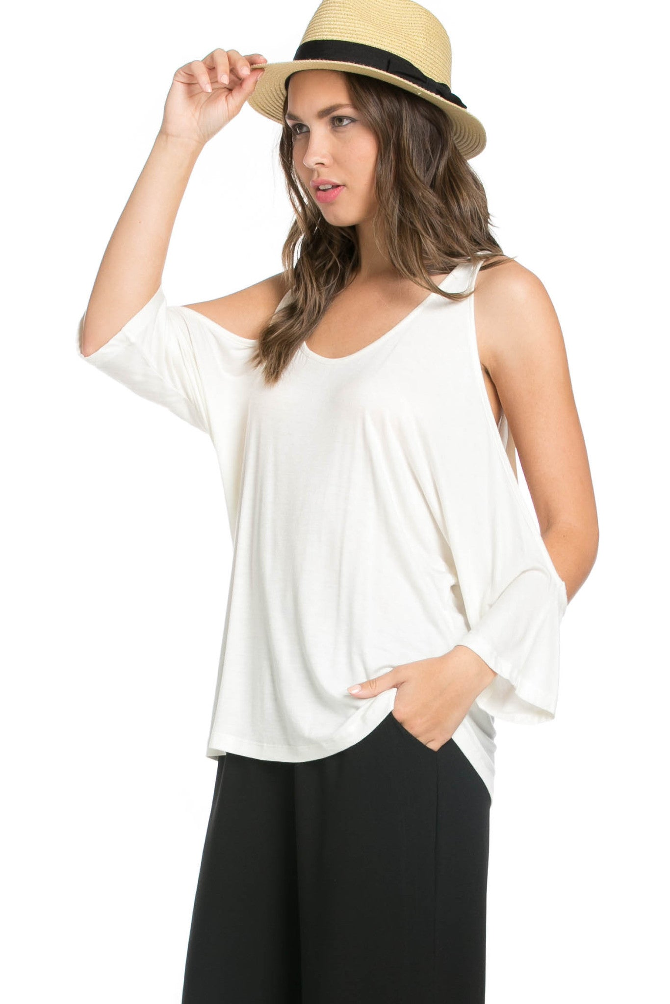 Classic Cold Shoulder Top White - Tops - My Yuccie - 2