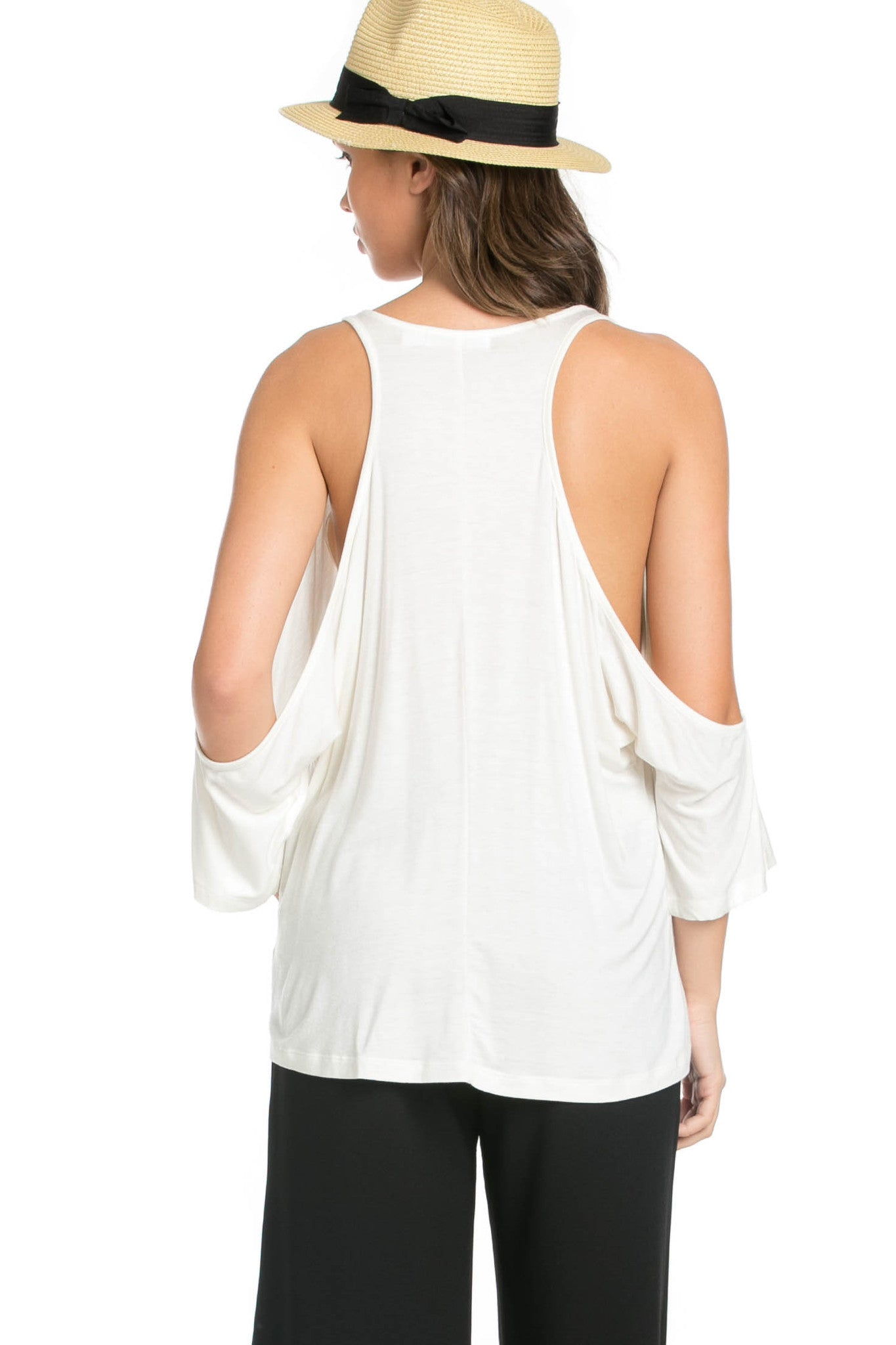 Classic Cold Shoulder Top White - Tops - My Yuccie - 3