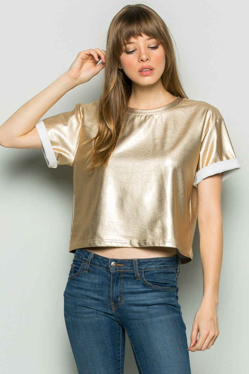 Gold Metallic Scoop Neck Boxy Top - Tops - My Yuccie - 1