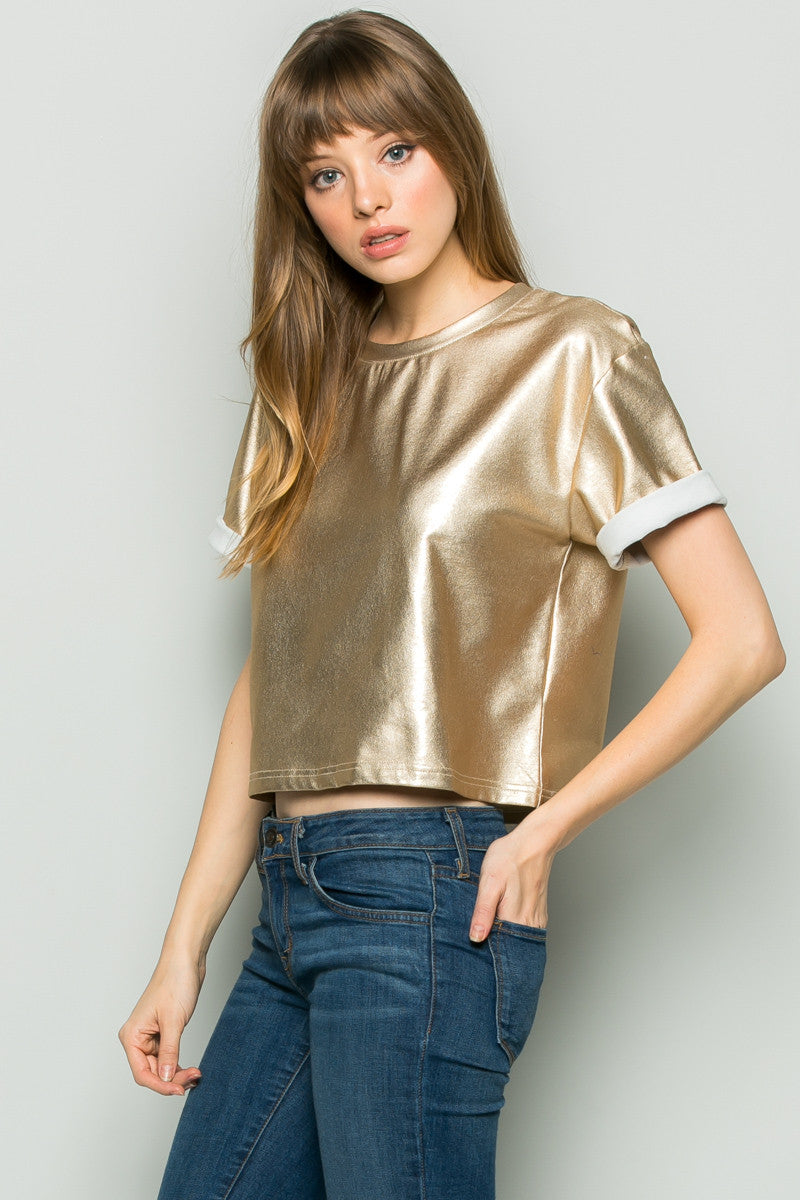 Gold Metallic Scoop Neck Boxy Top - Tops - My Yuccie - 2