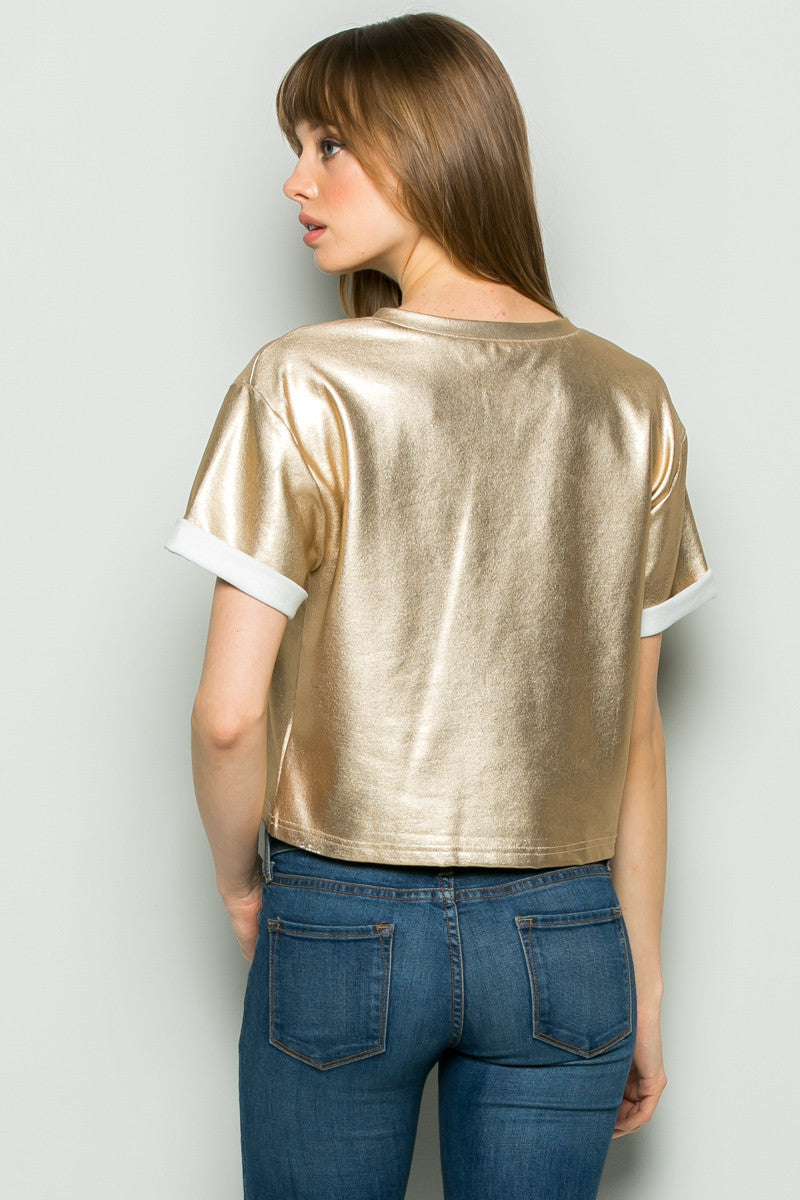 Gold Metallic Scoop Neck Boxy Top - Tops - My Yuccie - 3