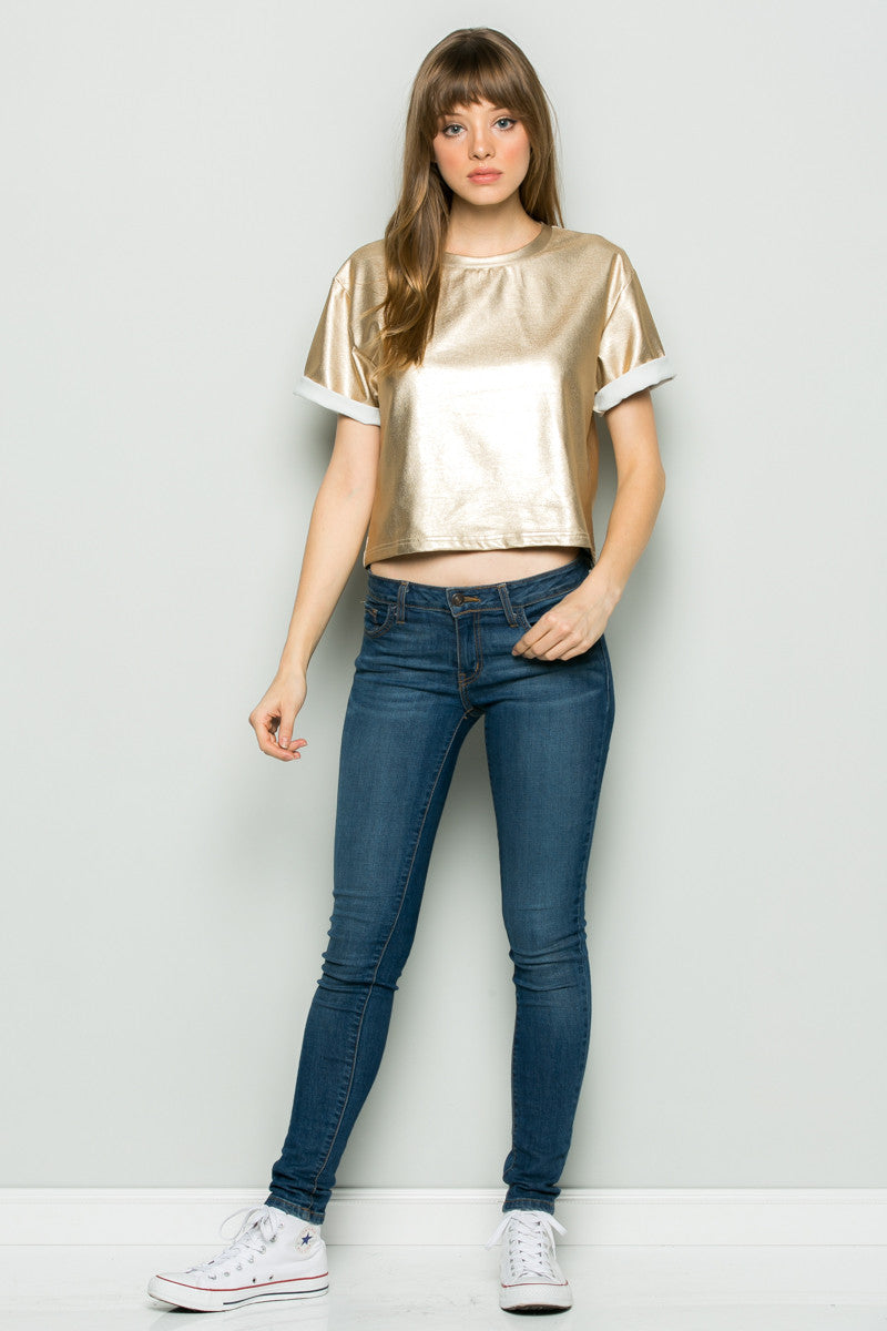 Gold Metallic Scoop Neck Boxy Top - Tops - My Yuccie - 4