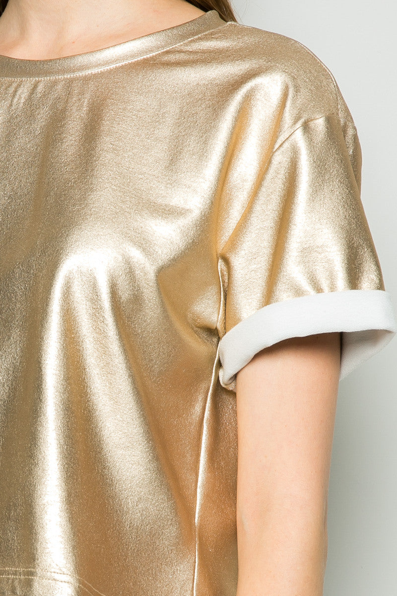 Gold Metallic Scoop Neck Boxy Top - Tops - My Yuccie - 5