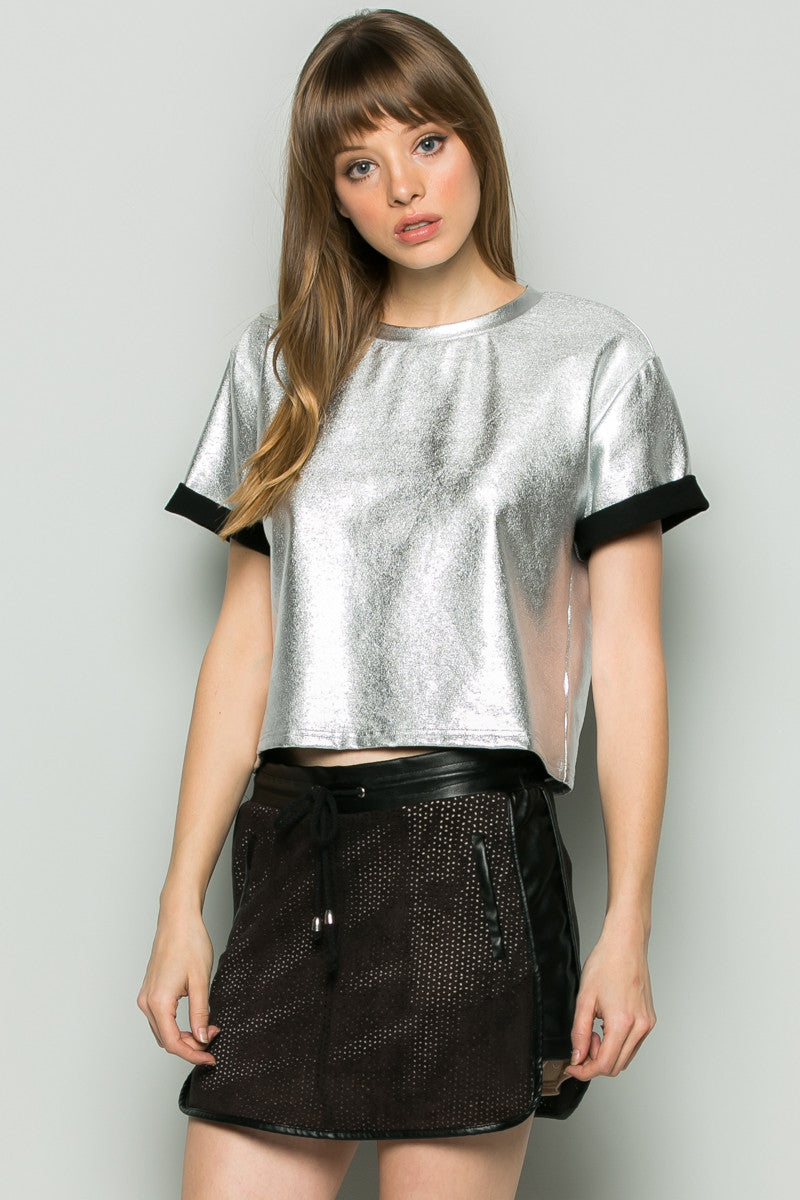 Gold Metallic Scoop Neck Boxy Top - Tops - My Yuccie - 6