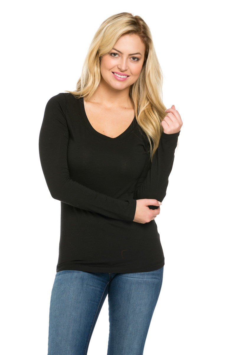 Long Sleeve Round Neck Tee Top Black - Tees - My Yuccie - 1
