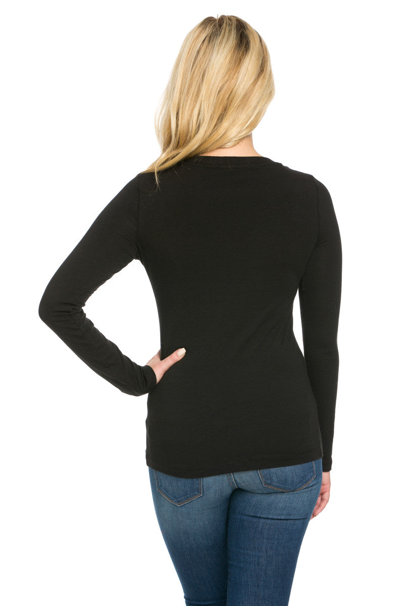 Long Sleeve Round Neck Tee Top Black - Tees - My Yuccie - 4