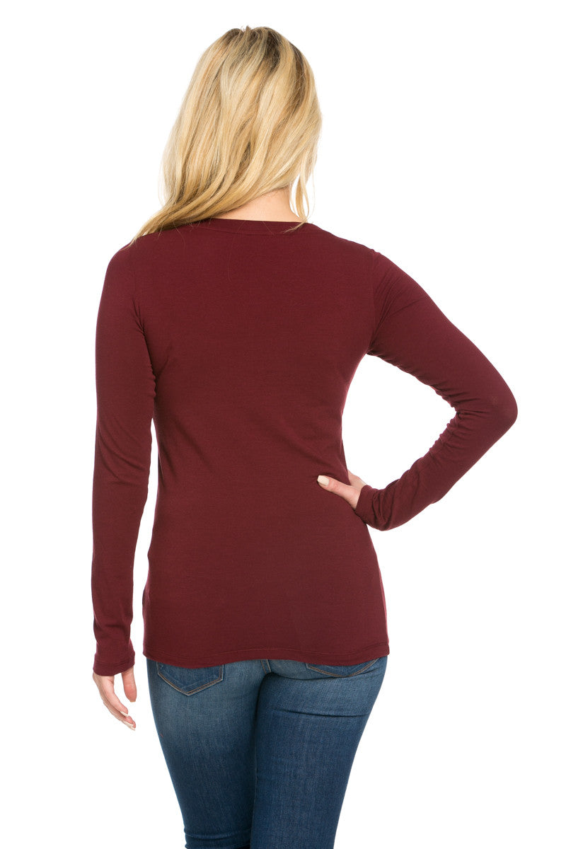 Long Sleeve Round Neck Tee Top Burgundy - Tees - My Yuccie - 3