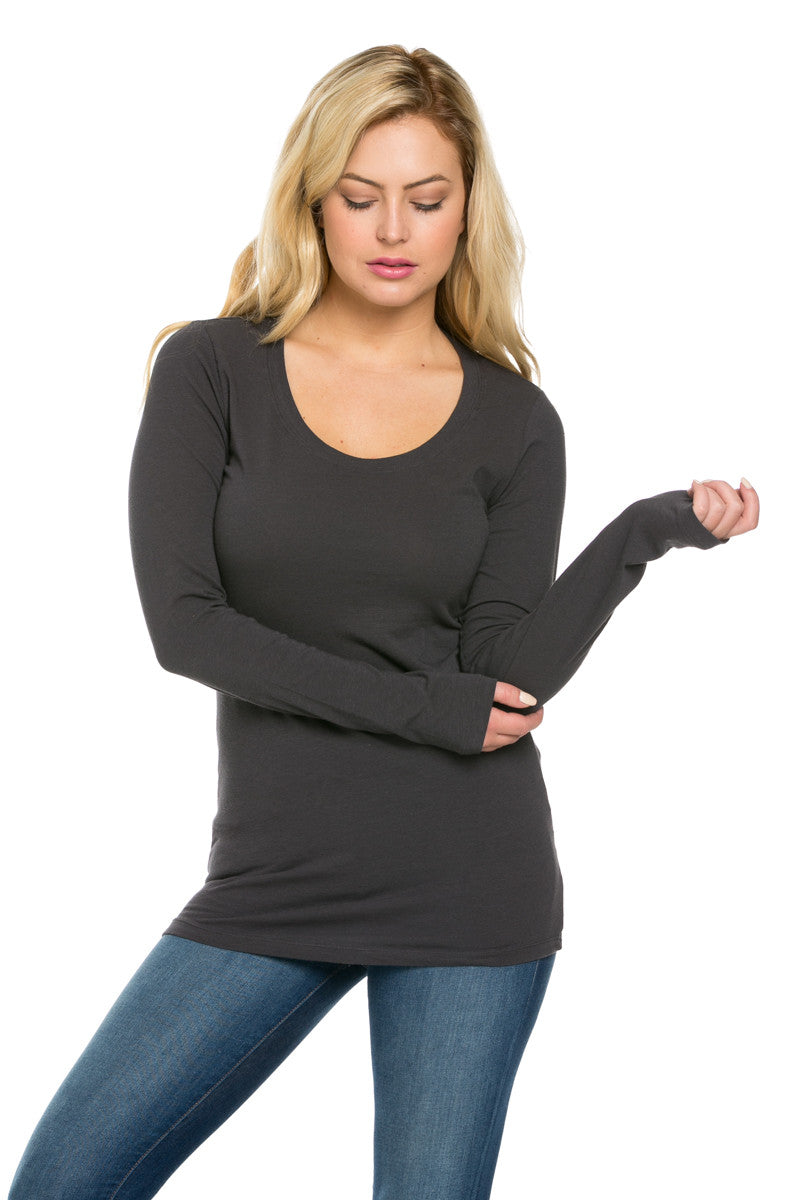 Long Sleeve Round Neck Tee Top Charcoal - Tees - My Yuccie - 2