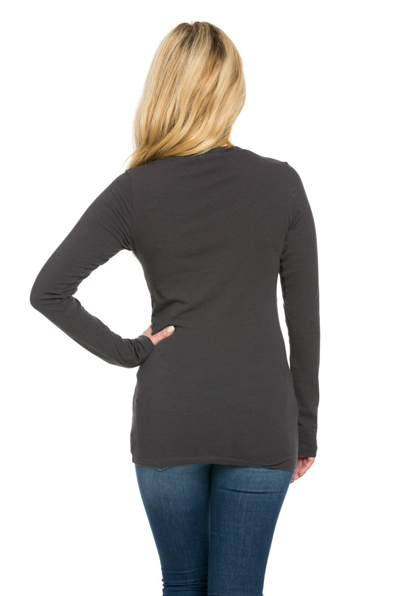 Long Sleeve Round Neck Tee Top Charcoal - Tees - My Yuccie - 4