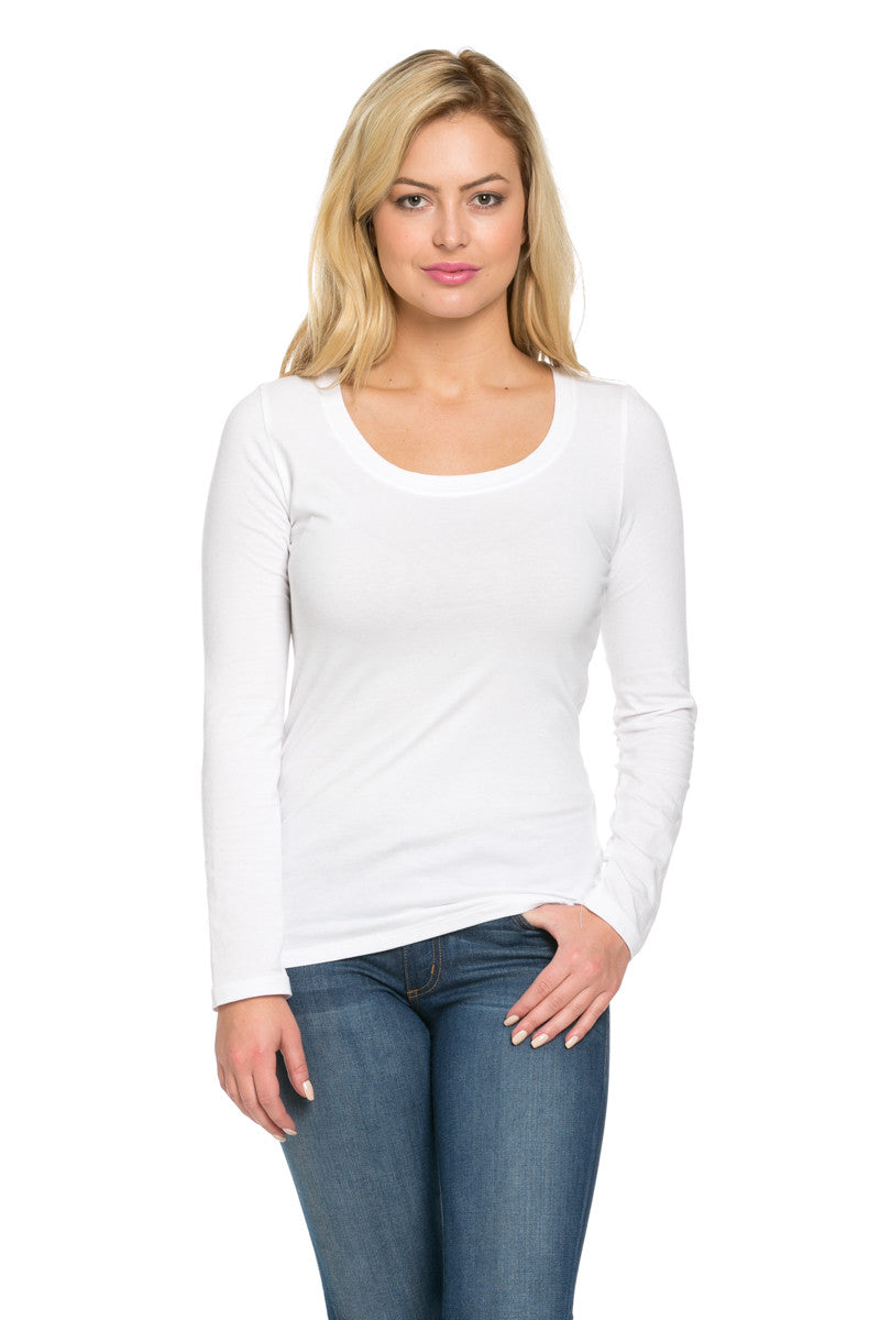 Long Sleeve Round Neck Tee Top White - Tees - My Yuccie - 1
