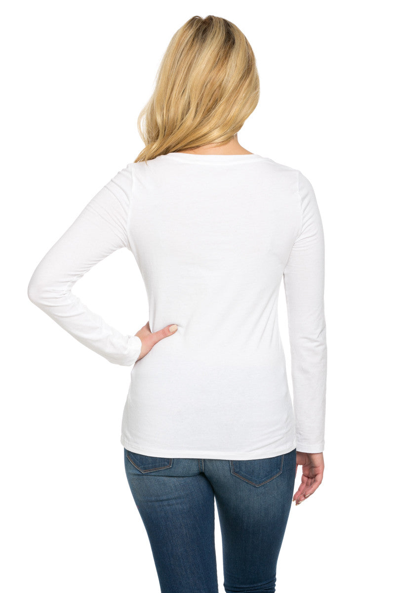 Long Sleeve Round Neck Tee Top White - Tees - My Yuccie - 4