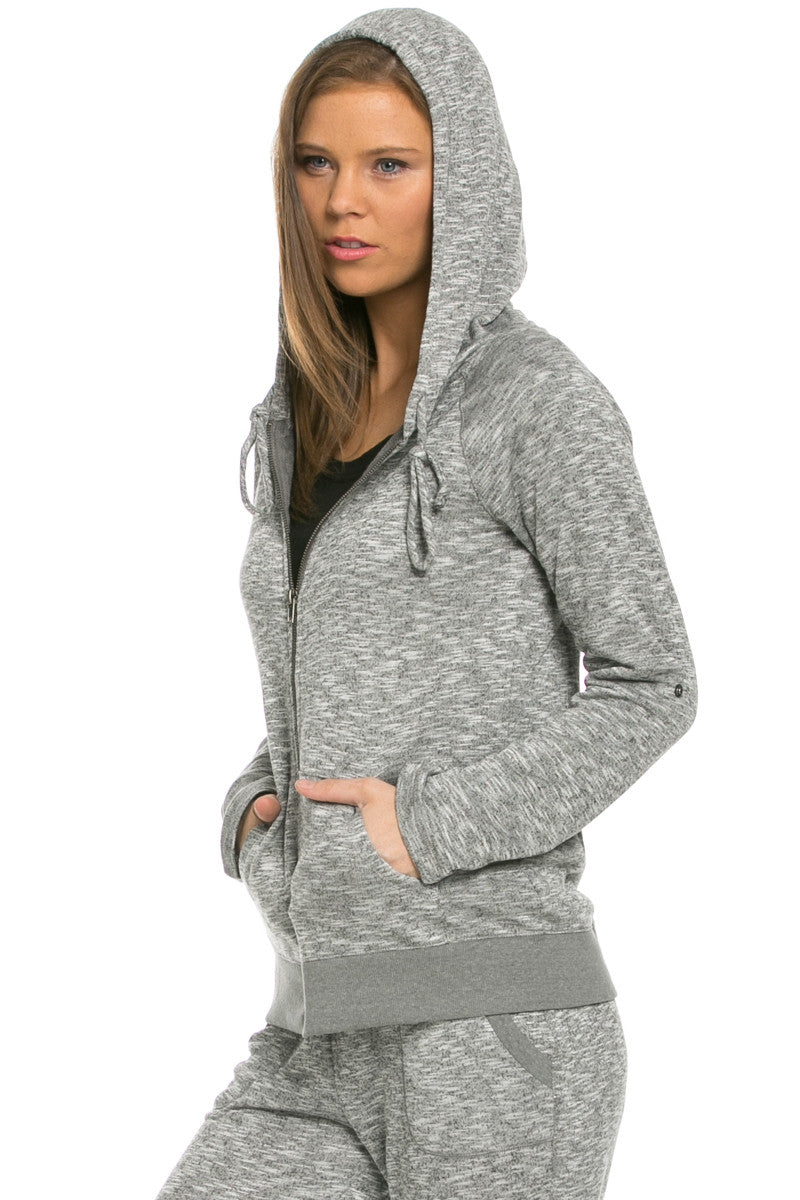 Lightweight French Terry Hoodie Jacket Charcoal - Jacket - My Yuccie - 3