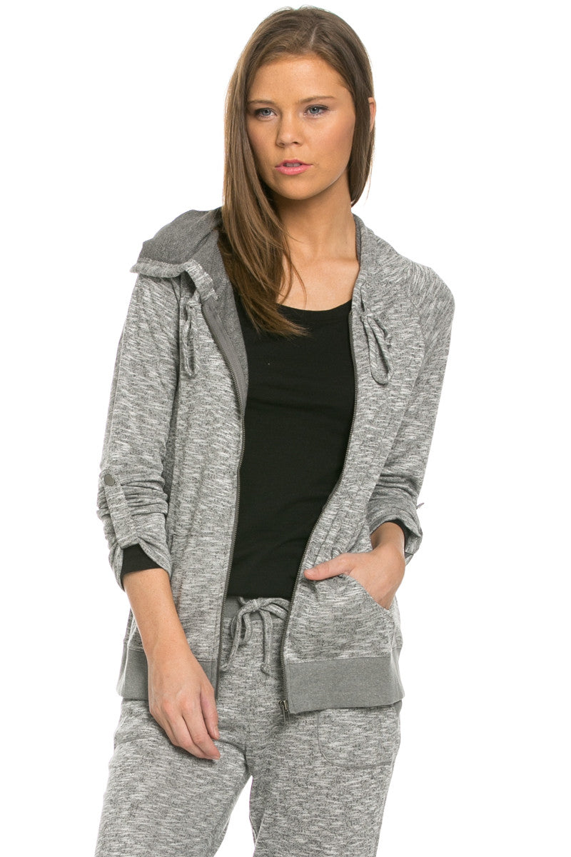 Lightweight French Terry Hoodie Jacket Charcoal - Jacket - My Yuccie - 2