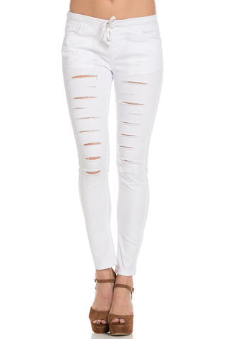 Distressed Skinny White Jogger Jeans - Pants - My Yuccie - 1
