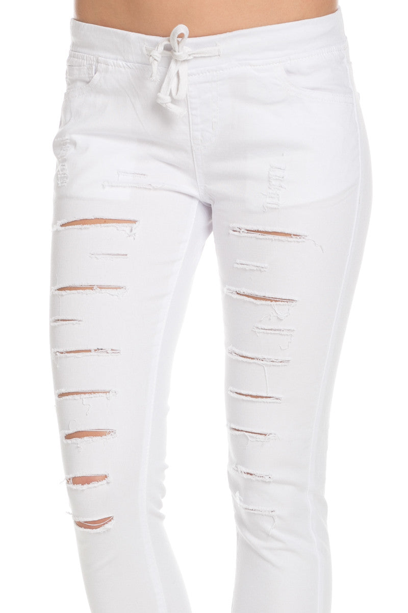 Distressed Skinny White Jogger Jeans - Pants - My Yuccie - 4