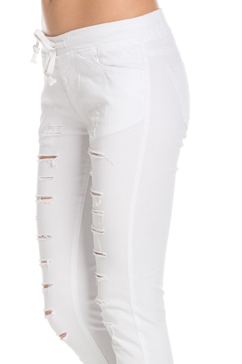 Distressed Skinny White Jogger Jeans - Pants - My Yuccie - 6