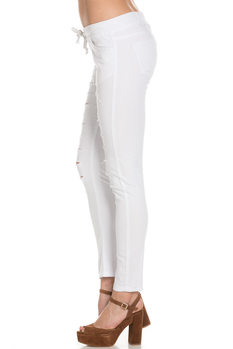 Distressed Skinny White Jogger Jeans - Pants - My Yuccie - 2