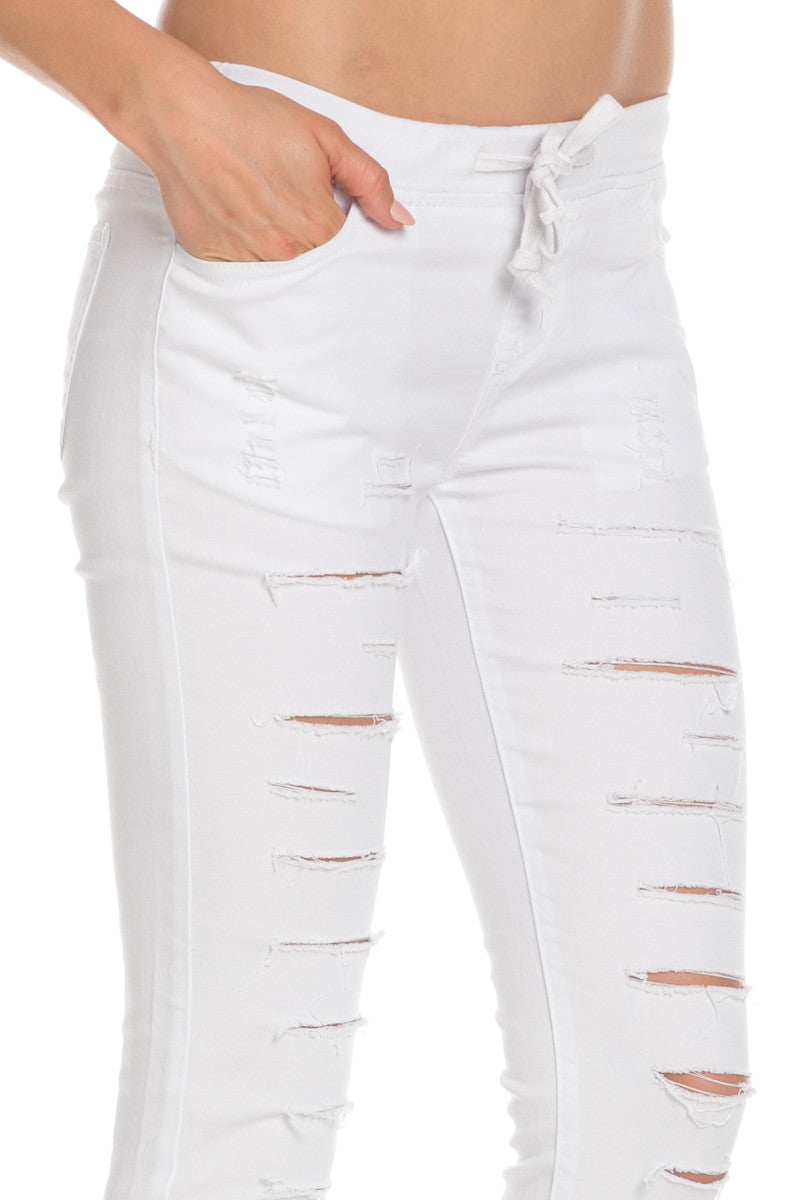 Distressed Skinny White Jogger Jeans - Pants - My Yuccie - 5