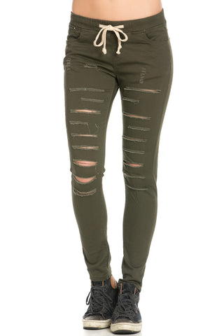 Destroyed Roll Up Skinny Jeans Blue