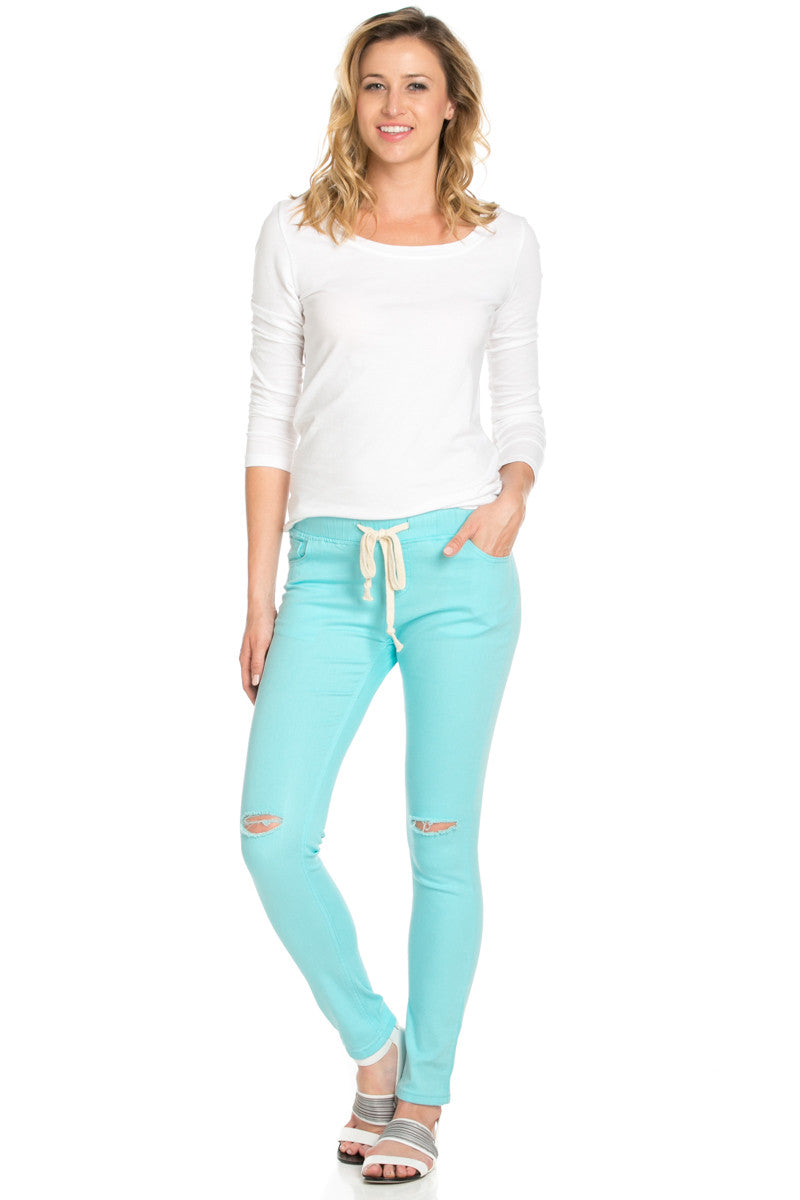 Destroyed Aqua Blue Skinny Jogger Jeans - Pants - My Yuccie - 7