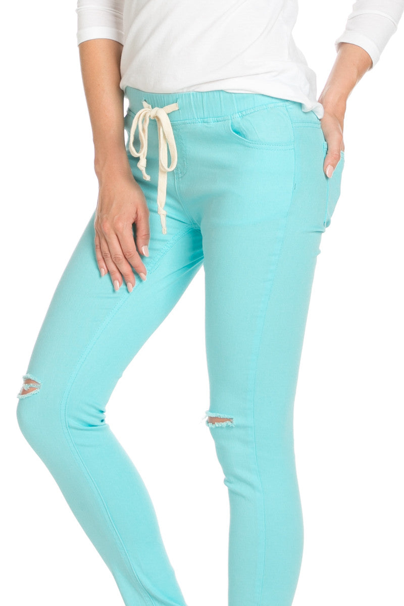Destroyed Aqua Blue Skinny Jogger Jeans - Pants - My Yuccie - 6