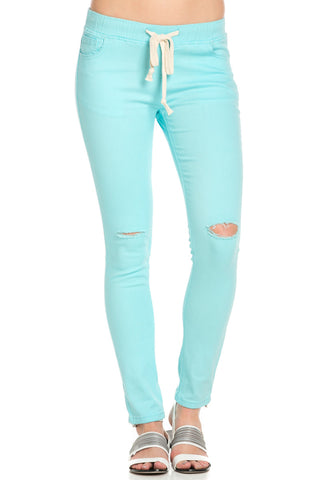 Destroyed Aqua Blue Skinny Jogger Jeans - Pants - My Yuccie - 1
