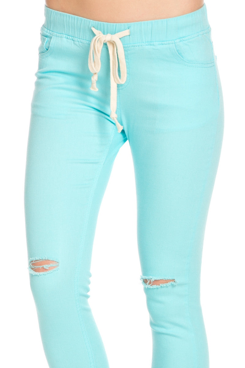 Destroyed Aqua Blue Skinny Jogger Jeans - Pants - My Yuccie - 4