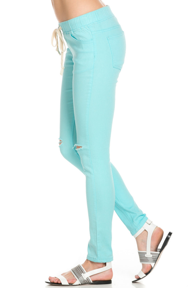 Destroyed Aqua Blue Skinny Jogger Jeans - Pants - My Yuccie - 2