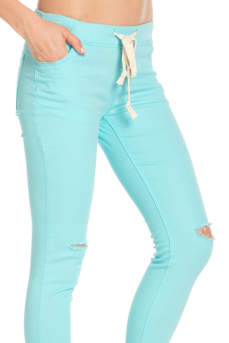 Destroyed Aqua Blue Skinny Jogger Jeans - Pants - My Yuccie - 5