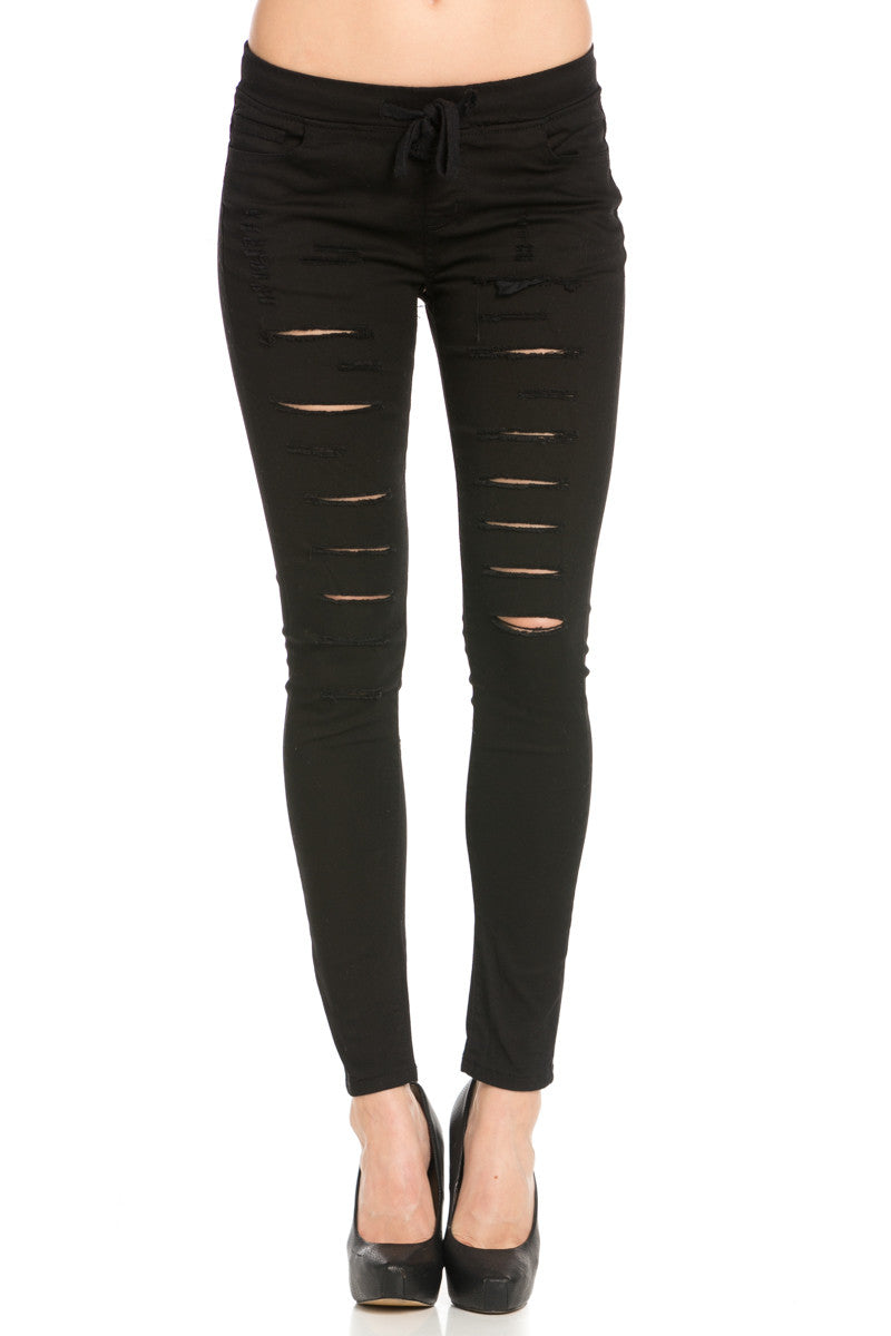Distressed Skinny Black Jogger Jeans - Pants - My Yuccie - 1