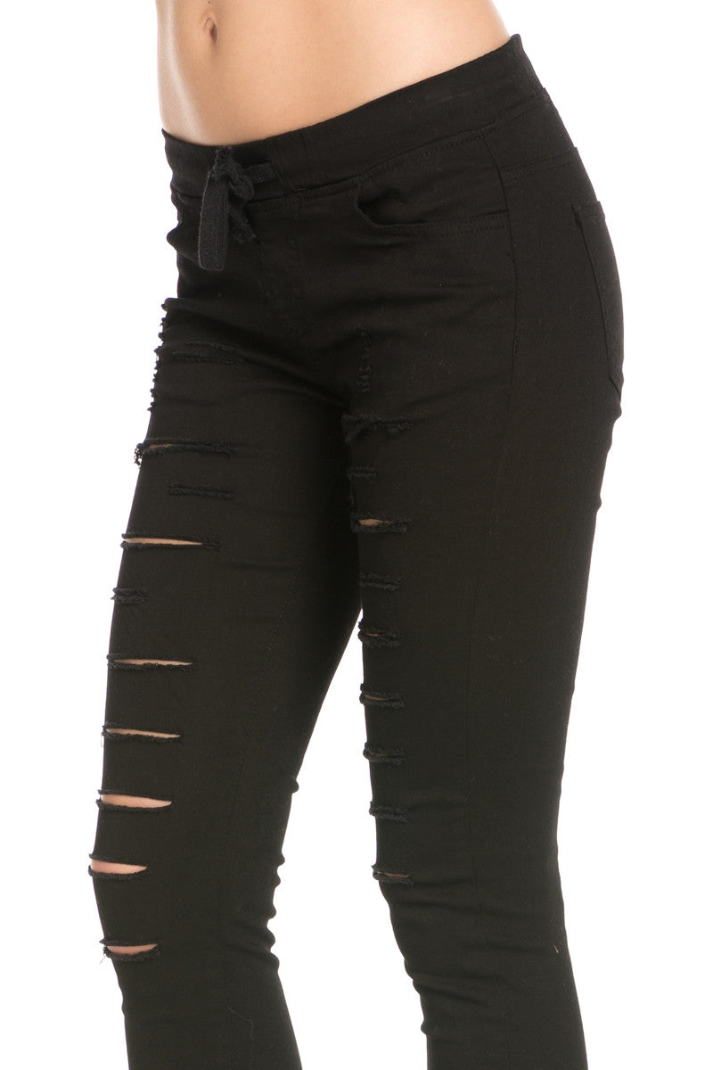 Distressed Skinny Black Jogger Jeans - Pants - My Yuccie - 5