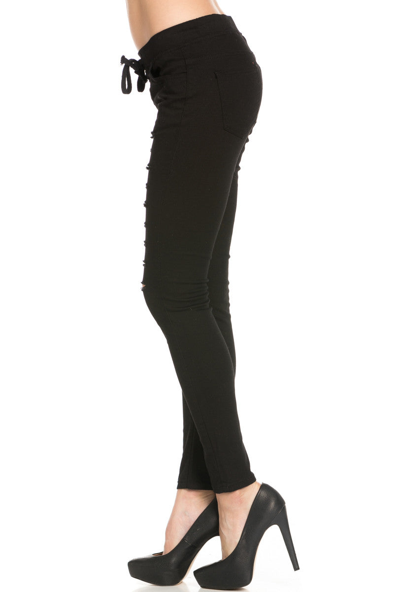 Distressed Skinny Black Jogger Jeans - Pants - My Yuccie - 2