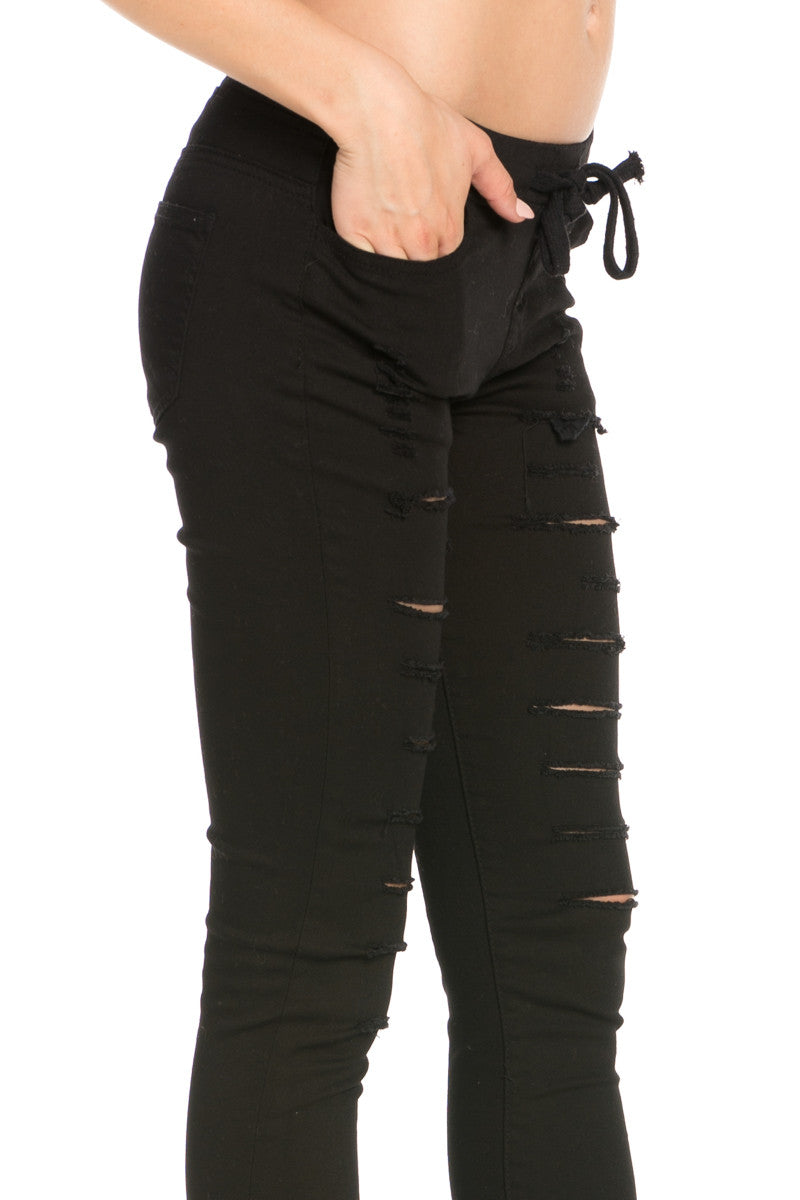 Distressed Skinny Black Jogger Jeans - Pants - My Yuccie - 4