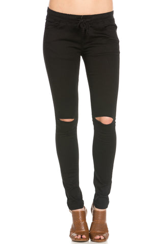Destroyed Black Skinny Jogger Jeans - Pants - My Yuccie