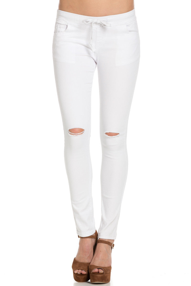 Destroyed White Skinny Jogger Jeans - Pants - My Yuccie - 1