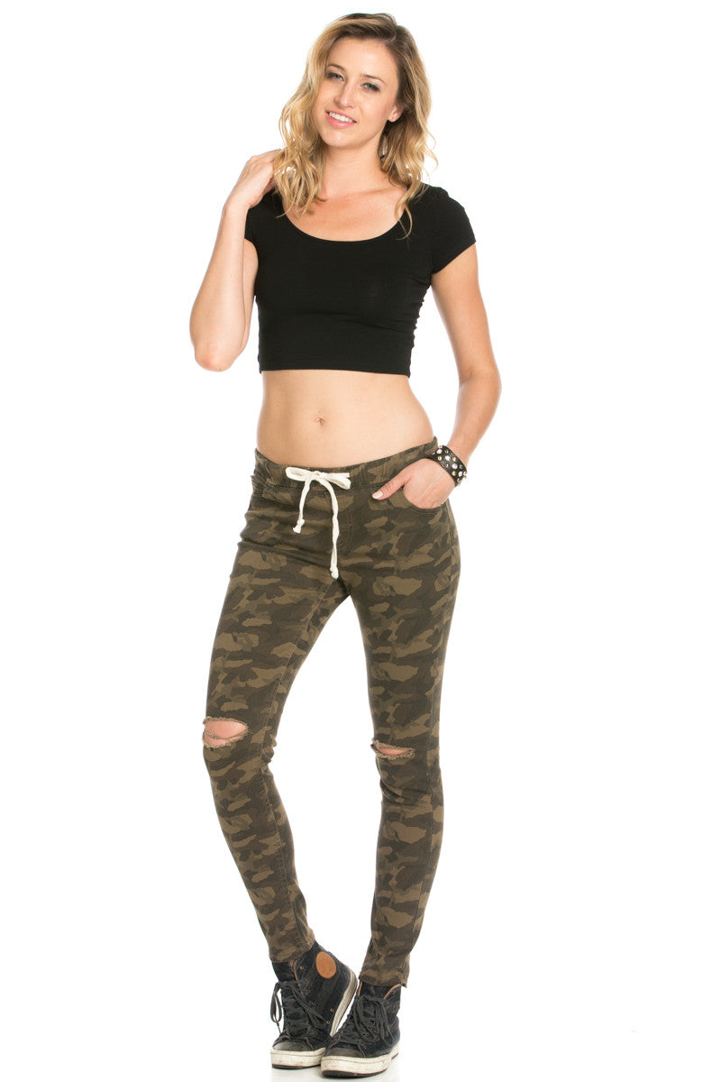 Destroyed Camouflage Skinny Jogger Jeans - Pants - My Yuccie - 6