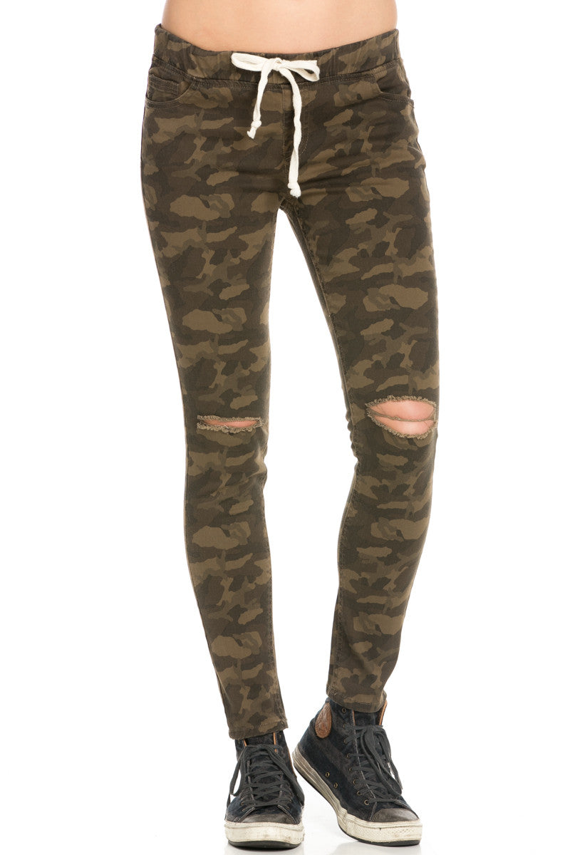 Destroyed Camouflage Skinny Jogger Jeans - Pants - My Yuccie - 1