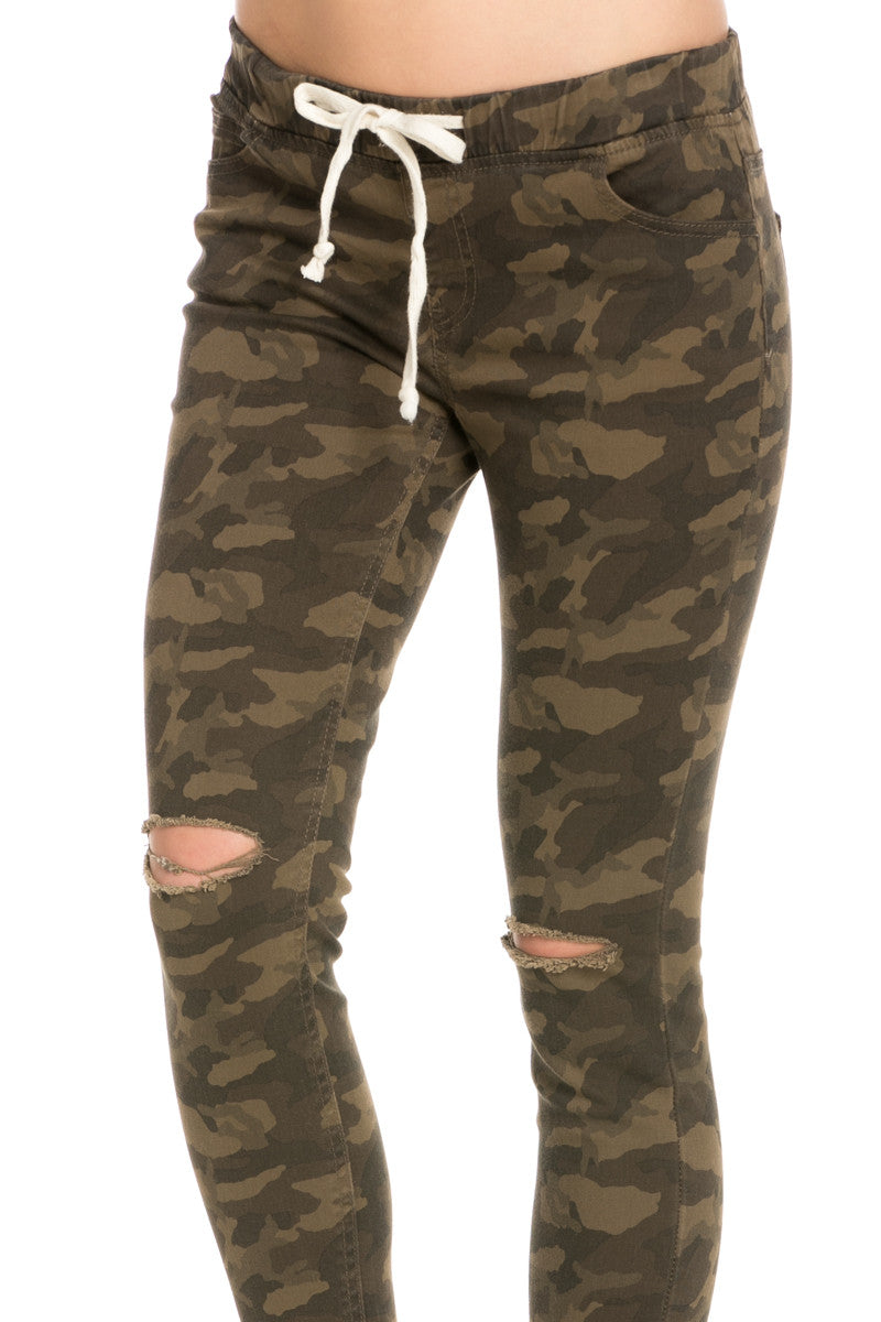 Destroyed Camouflage Skinny Jogger Jeans - Pants - My Yuccie - 5