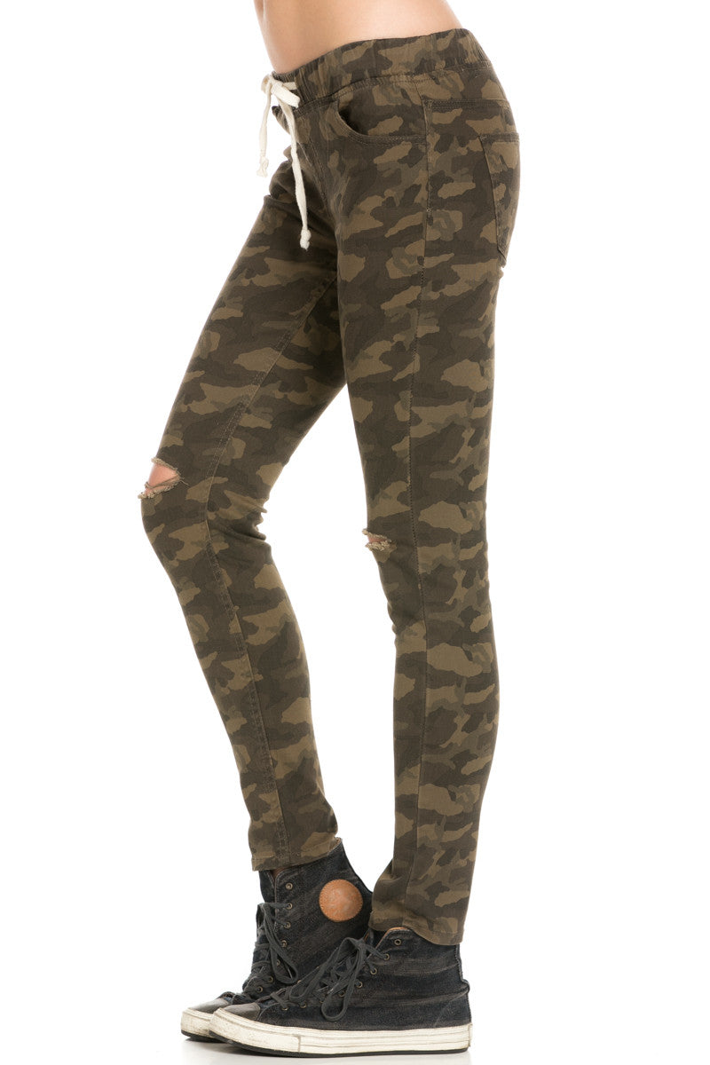 Destroyed Camouflage Skinny Jogger Jeans - Pants - My Yuccie - 2