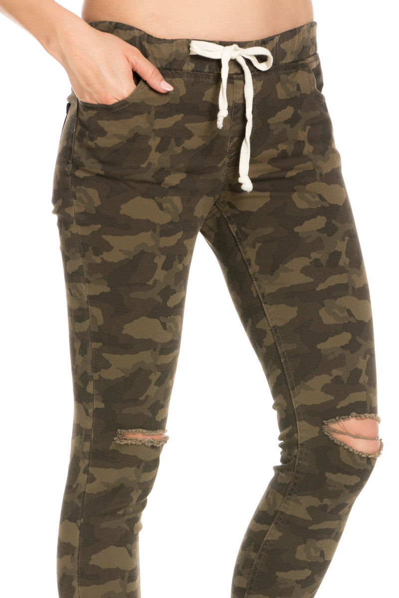 Destroyed Camouflage Skinny Jogger Jeans - Pants - My Yuccie - 4