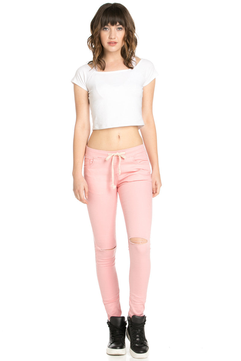 Destroyed Peach Skinny Jogger Jeans - Pants - My Yuccie - 4