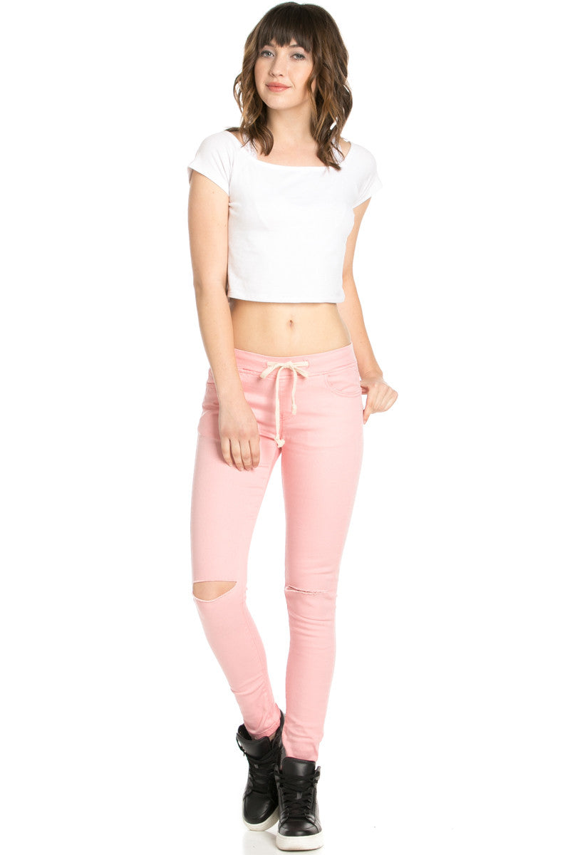 Destroyed Peach Skinny Jogger Jeans - Pants - My Yuccie - 5