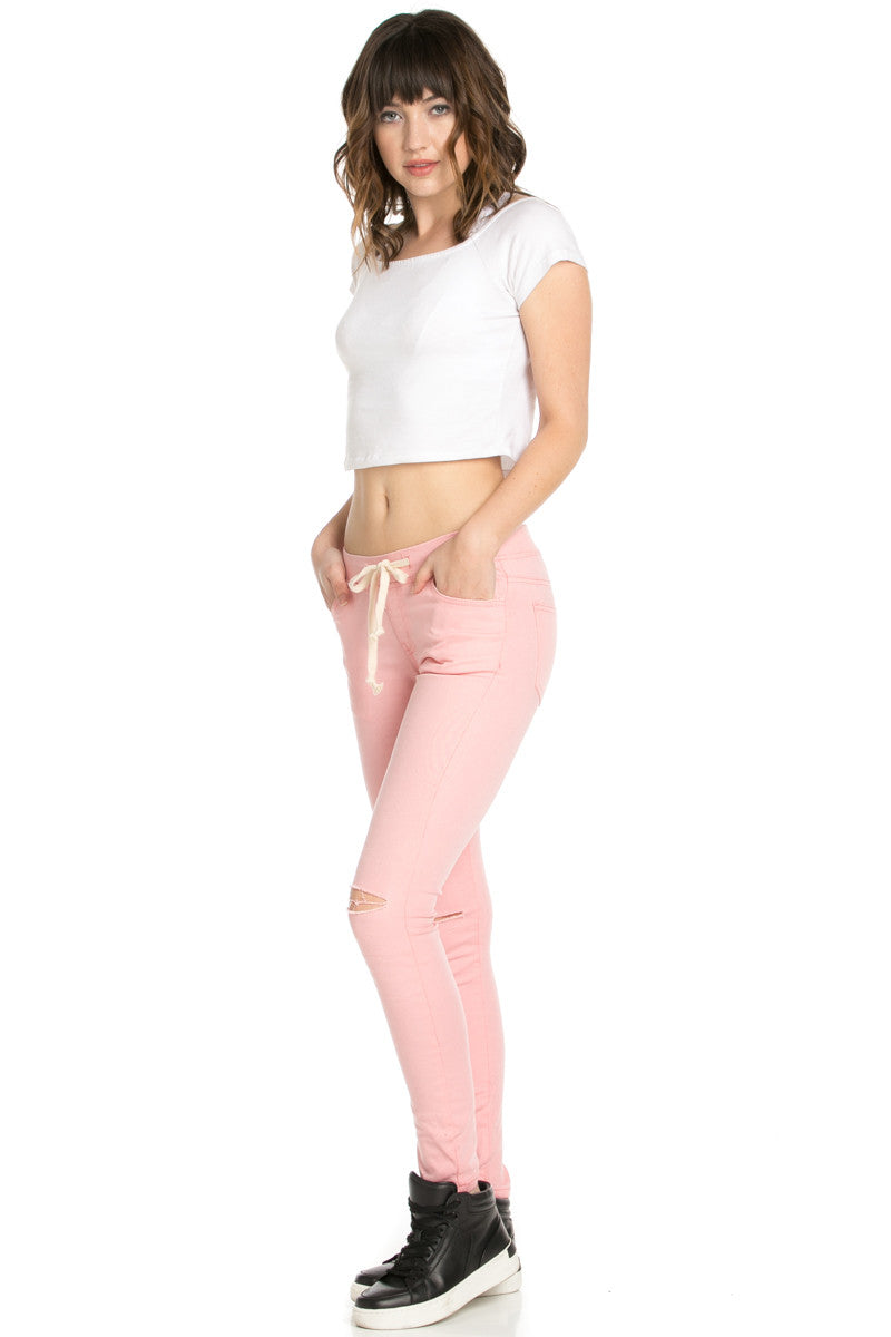 Destroyed Peach Skinny Jogger Jeans - Pants - My Yuccie - 6